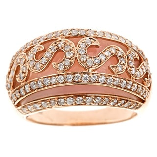 D'Yach 14k Rose Gold Pink Opal and 1ct TDW Diamond Ring (G-H, I1-I2)