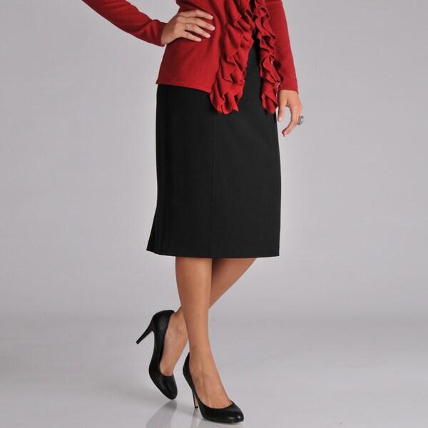 Grace Elements Women's Black Pleated Pencil Skirt