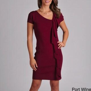 Grace Elements Women's Asymmetrical Ruffle Short Sleeve Dress
