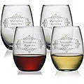 Halloween Vampire Spirits 21-oz Stemless Wine Glasses (Set of 4)