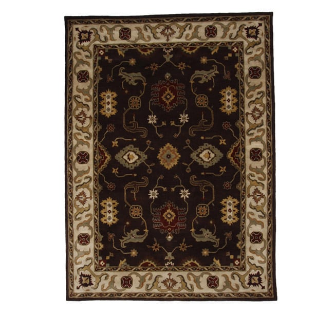 Hand-Tufted Tempest Dark Brown/Ivory Floral Area Rug (8' x 11')