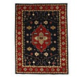 Hand-Tufted Tempest Black/Red Geometric Area Rug (8' x 11')