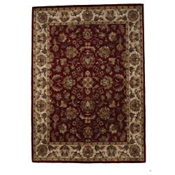 Hand-Tufted Tempest Red/Beige Area Rug (8' x 10')