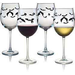 Halloween Bats Wine Glasses (Set of 4)