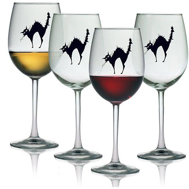 Black Cat 19-oz Wine Glasses (Set of 4)