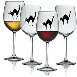 Halloween Black Cat 19-oz Wine Glasses (Set of 4)