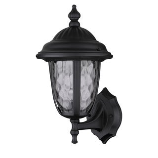 Transitional Black One-Light Clear-Optic Glass Outdoor Wall Fixture