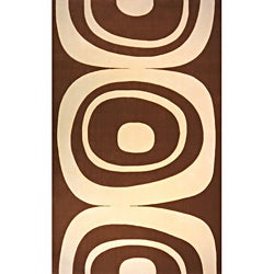 Power-Loomed Soho Brown Wool Rug (9' 6 x 13' 6)
