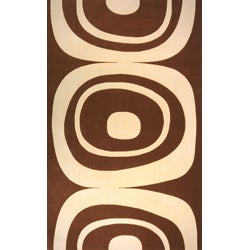 Power-Loomed Soho Brown Wool Rug (8' x 11')