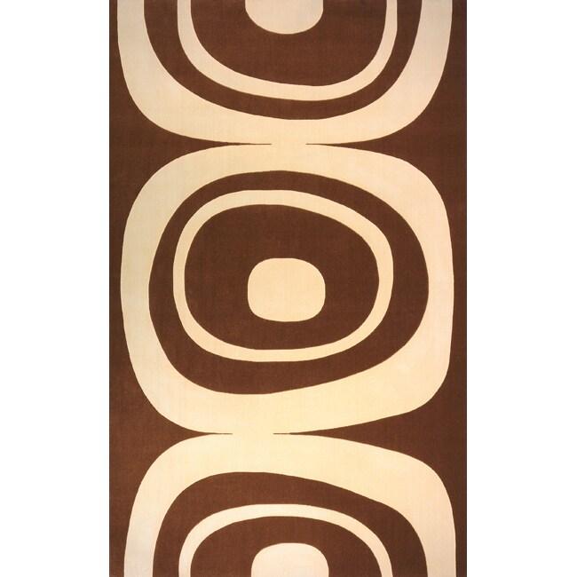 Power-Loomed Soho Brown Wool Rug (5' x 8')