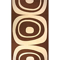 Power-Loomed Soho Brown Wool Rug (5' x 8')