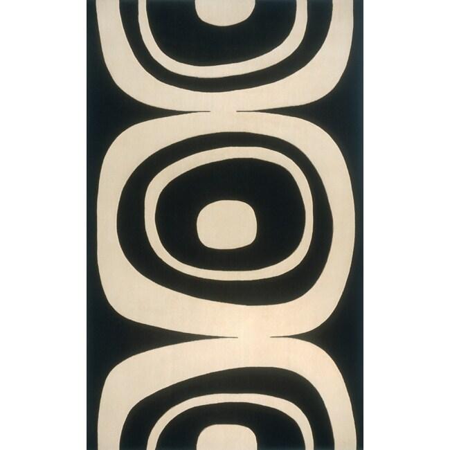 Soho Frames Power-Loomed Black Wool Rug (8' x 11')