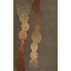 Power-Loomed Soho Modern Grey Wool Rug (5' x 8')