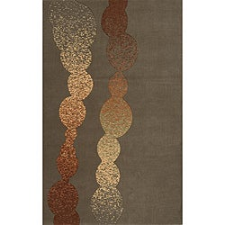 Power-Loomed Soho Modern Grey Wool Rug (3' x 5')