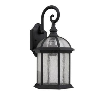 Transitional 1-light Black Outdoor Glass Wall Fixture
