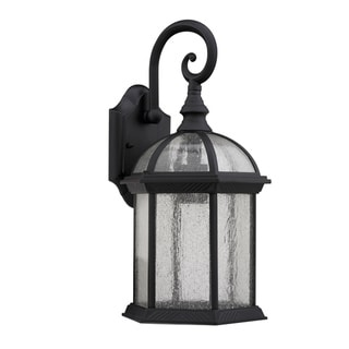 Transitional Black One-Light Outdoor Glass Wall Fixture