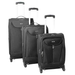 Kemyer Celebrity Lightweight 3-piece Black Expandable Spinner Luggage Set