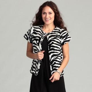Live A Little Women's Zebra Faux Fur Cap Sleeve Top