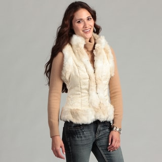 Live A Little Sleeveless Cream Faux Fur Trim Polyester/Acrylic Vest