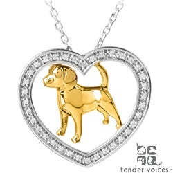 ASPCA Tender Voices Silver 1/6ct TDW Diamond Dog Necklace (I-J, I2-I3)