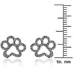 ASPCA Tender Voices Silver 1/10ct TDW Diamond Paw Earrings (I-J, I2-I3)