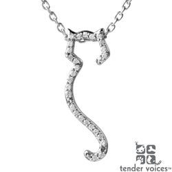 ASPCA Tender Voices 10k Gold 1/10ct Diamond Cat Outline Necklace (I-J, I2-I3)