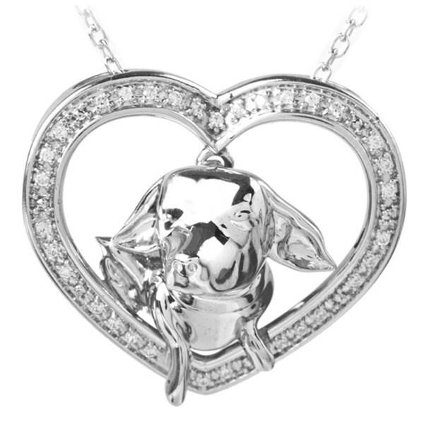 ASPCA Tender Voices Silver 1/8ct TDW Diamond Chihuahua Necklace (I-J, I2-I3)