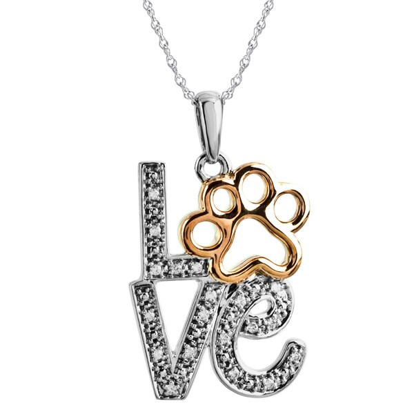 Love and Paw Necklace with Diamond Accent