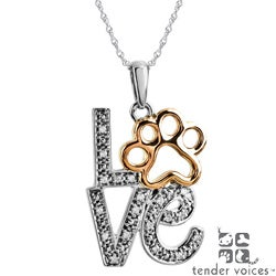 ASPCA Tender Voices Silver Diamond Accent 'Love' Paw Necklace
