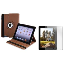 Brown Swivel Case/ Screen Protector for Apple iPad 3