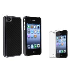 Black Carbon Fiber Case/Anti-glare Screen Protector for Apple iPhone 4/4S