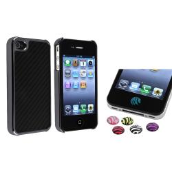 Carbon Fiber Case/ Zebra HOME Button Stickers for Apple iPhone 4/ 4S