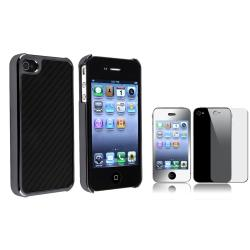 Carbon Fiber Case/ Mirror Screen Protector for Apple iPhone 4/ 4S