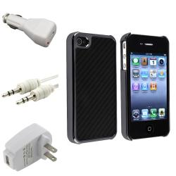 Carbon Fiber Case/ Travel/ Car Charger/ Cable for Apple iPhone 4/ 4S