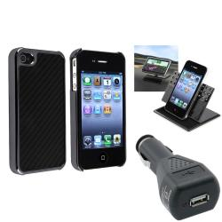 Black Carbon-Fiber Case/Phone Holder/Charger Bundle for Apple iPhone 4/ 4S