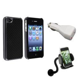 Black Carbon-Fiber Case/Phone Holder/Charger Set for Apple iPhone 4/ 4S