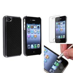 Black Carbon Fiber Case/Stylus/Protector Bundle for Apple iPhone 4/4S