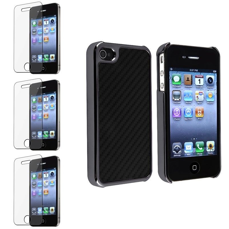 Black Carbon Fiber Case/Screen Protector 4-Piece Set for Apple iPhone 4/4S