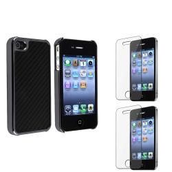 Black Carbon Fiber Case/ Screen Protector Set for Apple iPhone 4/ 4S