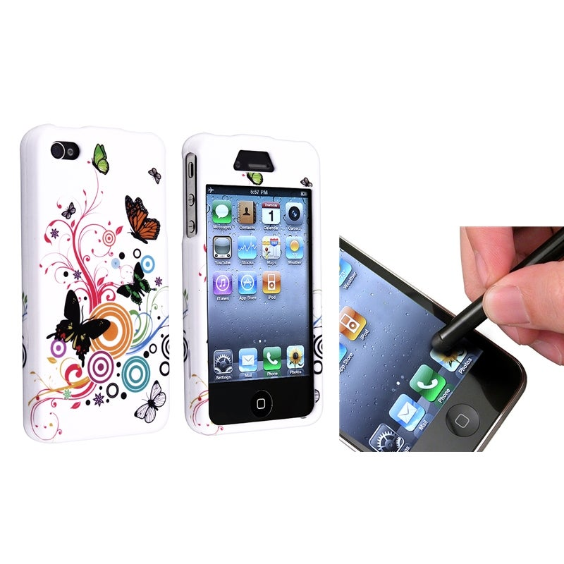 INSTEN Autumn Flower Phone Case Cover/ Black Stylus for Apple iPhone 4/ 4S
