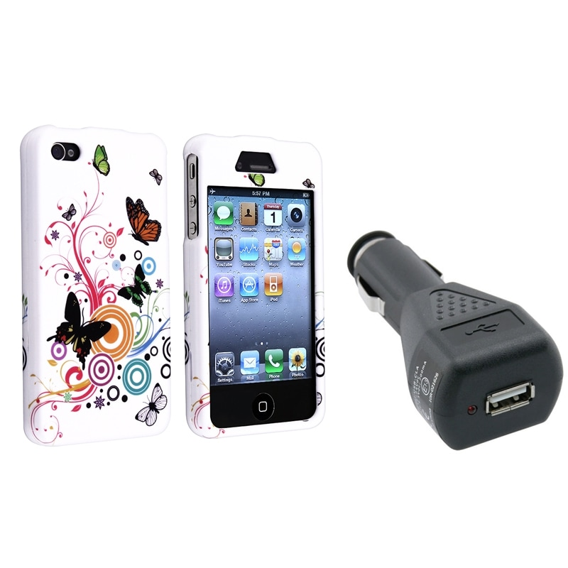 INSTEN Two-Piece Autumn Flower Phone Case Cover/ Car Charger Adapter for Apple iPhone 4/ 4S