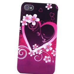 INSTEN Purple Heart Flower Phone Case Cover/ HOME Button Stickers for Apple iPhone 4/ 4S