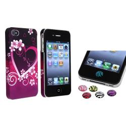 Purple Heart Flower Case/ HOME Button Stickers for Apple iPhone 4/ 4S