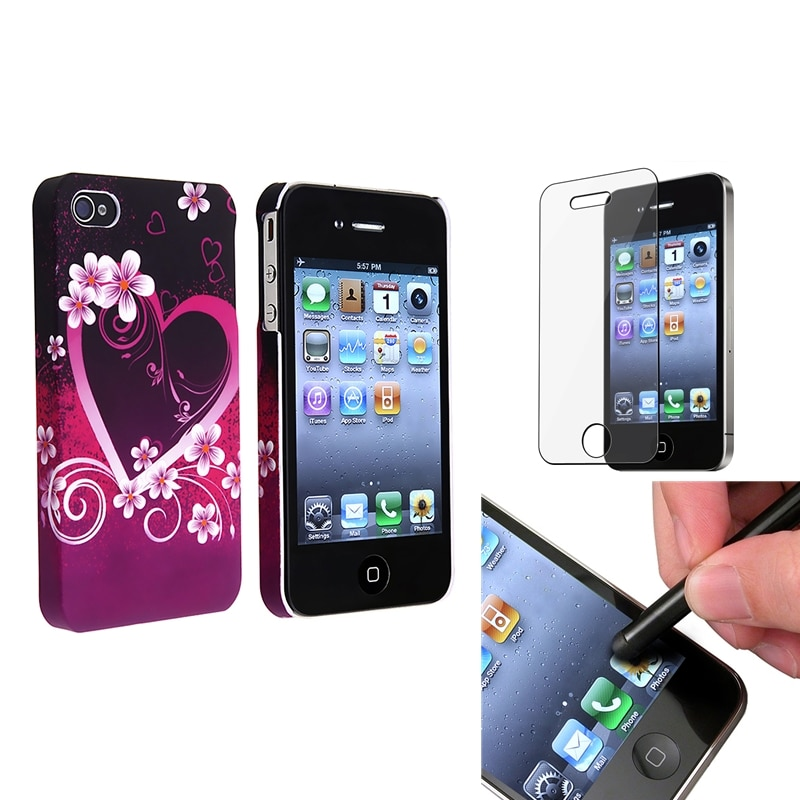 INSTEN Purple Heart Flower Phone Case Cover/ LCD Protector/ Stylus for Apple iPhone 4/ 4S
