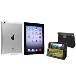 BasAcc Crystal Case/ Black Leather Case for Apple iPad 2/ 3/ New iPad/ 4