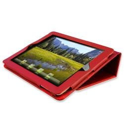 Crystal Case/ Red Leather Case for Apple iPad 2/ 3/ New iPad