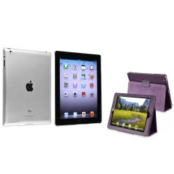 Crystal Case/ Purple Leather Case for Apple iPad 2/ 3/ New iPad