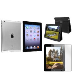 BasAcc Crystal Case/ Protector/ Black Leather Case for Apple iPad 2/ 3/ New iPad/ 4