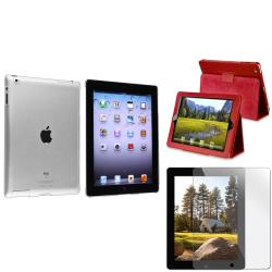 Crystal Case/ Protector/ Red Leather Case for Apple iPad 2/ 3/ New iPad
