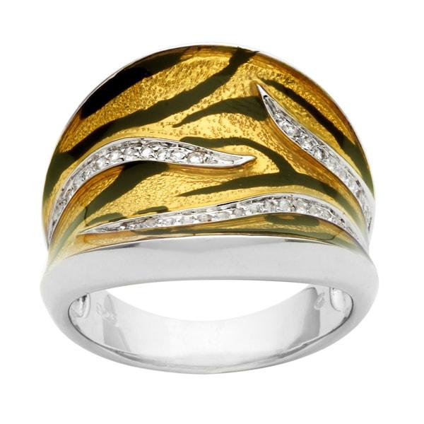 Pearlz Ocean Sterling Silver Animal Print Enamel and White Topaz Ring